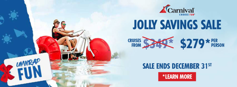 Carnival Jolly Savings Sale Cruises from $279* Per Person. Sale Ends December 31st. Click to learn more.